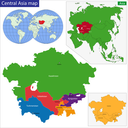 asia map: Color map of Central Asia divided by the countries Illustration