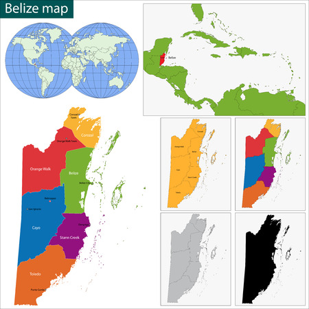 Belize map with the regions colored in bright colors Illustration