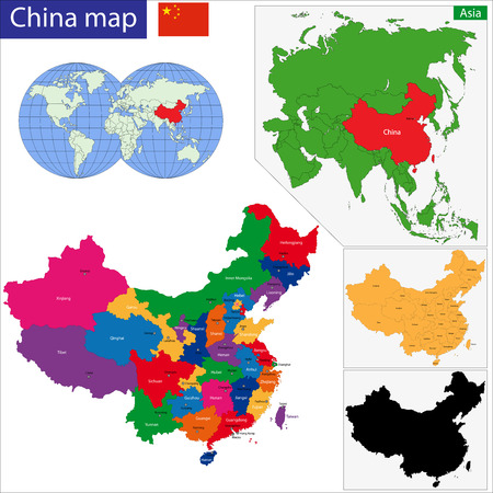 mapa china: Mapa de colores de las regiones y divisiones de la China