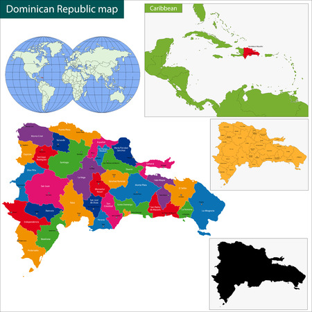 Map of Dominican Republic with the provinces colored