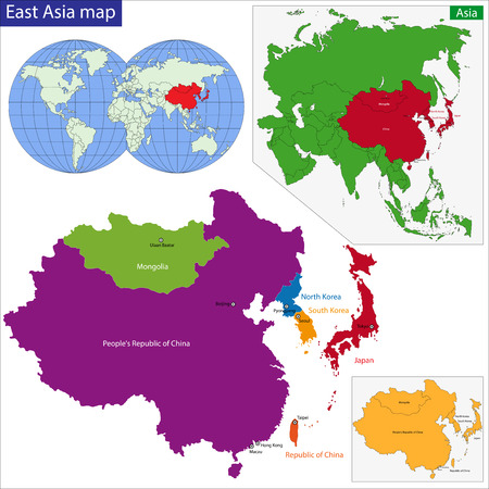 china map: Color map of Eastern Asia divided by the countries