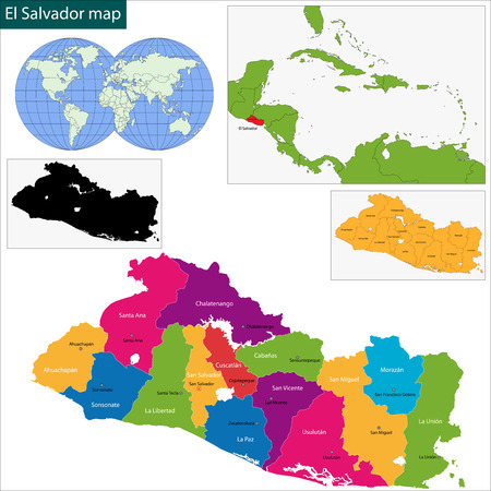 el salvador: Map of the Republic of El Salvador with the departments Illustration