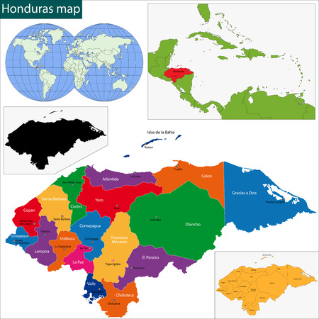 honduras: Map of the Republic of Honduras with the departments