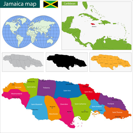 kingston: Map of Jamaica with the parishes the capital cities