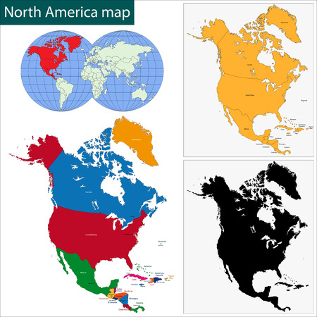 united states map: Colorful North America map with countries and capital cities
