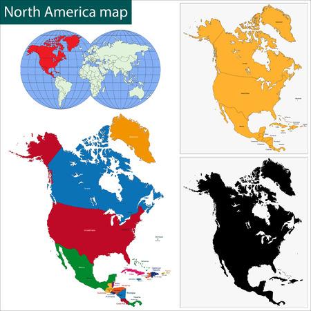 mapa de el salvador: Colorido mapa de América del Norte con los países y ciudades capitales Vectores