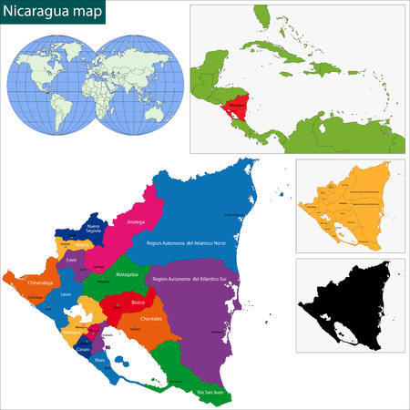 nicaragua: Map of the Republic of Nicaragua with the departments Illustration