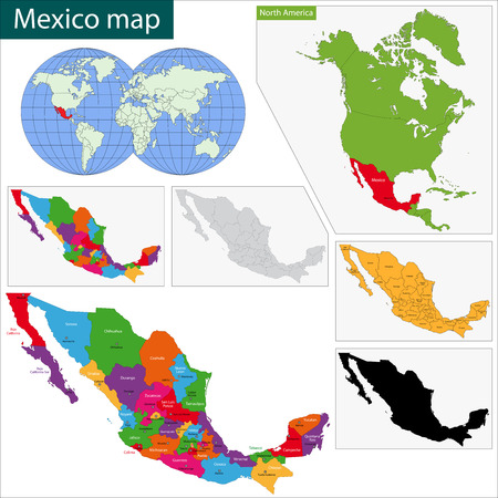 mexico map: Colorful Mexico map with state borders and capital cities