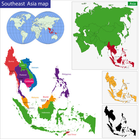 Color map of Southeastern Asia divided by the countries Vectores