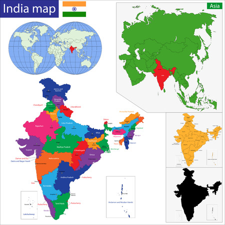 south asia: Color map of Western Asia divided by the countries