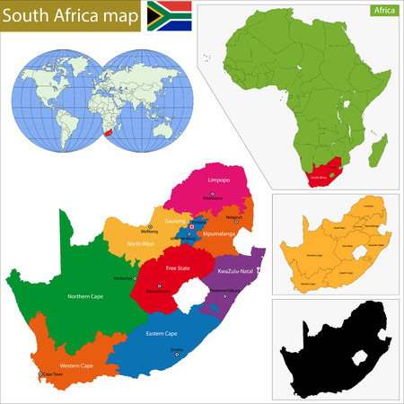 South Africa map with the provinces and the main cities Vectores