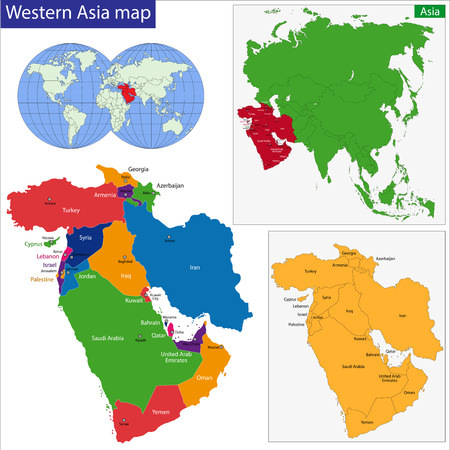 western asia: Color map of Western Asia divided by the countries