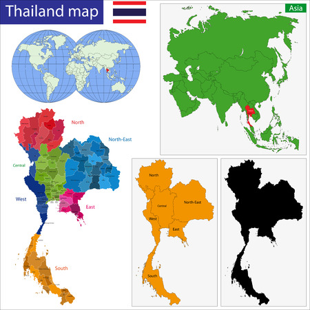 Map of Kingdom of Thailand with the provinces colored in bright colors Ilustração
