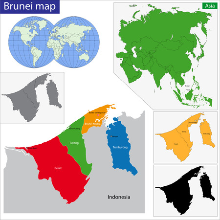 Map of Brunei with the provinces colored in bright colors Vector