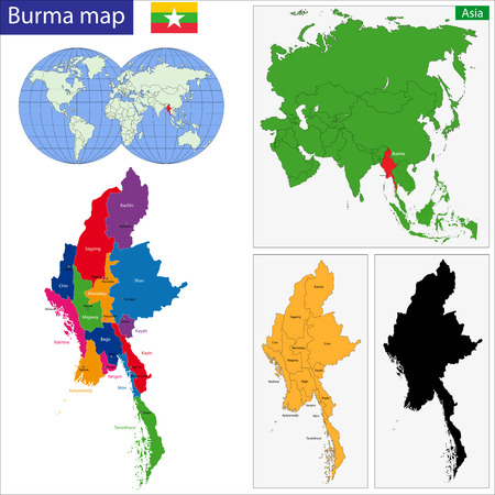 myanmar: Map of Union of Myanmar (Burma) with the provinces colored in bright colors Illustration