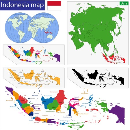 indonesian: Map of the Republic of Indonesia with the provinces colored in bright colors