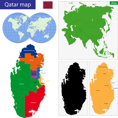 doha: Map of the State of Qatar drawn with high detail and accuracy Illustration