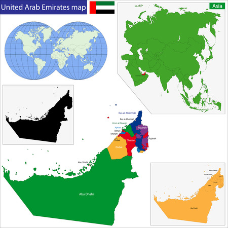 dubai: Map of the United Arab Emirates drawn with high detail and accuracy