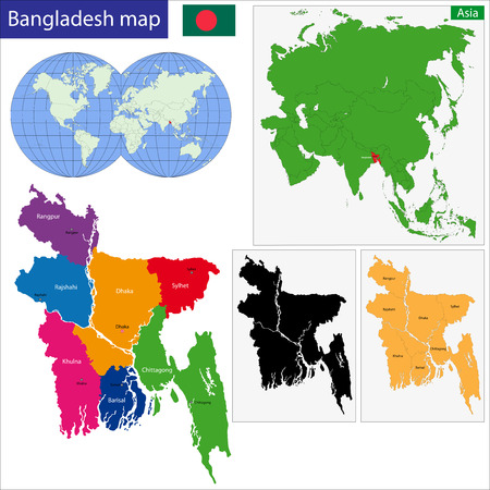 bangladesh: Map of Peoples Republic of Bangladesh with the provinces colored in bright colors