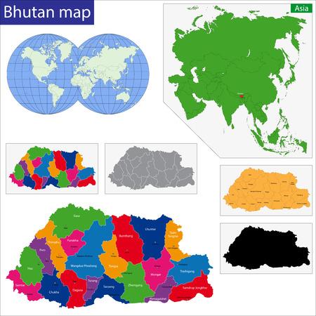 bhutan: Kaart van de administratieve afdelingen van Bhutan