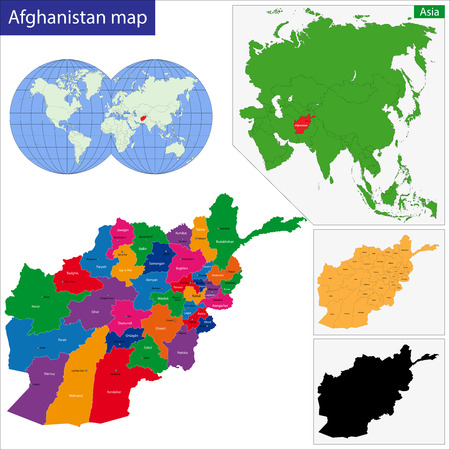 afghanistan: Map of the Islamic Republic of Afghanistan with the provinces colored in bright colors