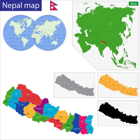 mapa politico: Map of the Federal Democratic Republic of Nepal with zones colored in bright colors