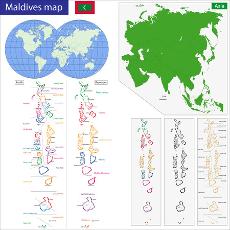 politically: Map of the Republic of the Maldives drawn with high detail and accuracy. Illustration
