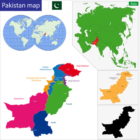 geographically: Map of Pakistan with the states colored in bright colors