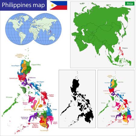 Kaart van Republiek van de Filipijnen met de provincies gekleurd in heldere kleuren