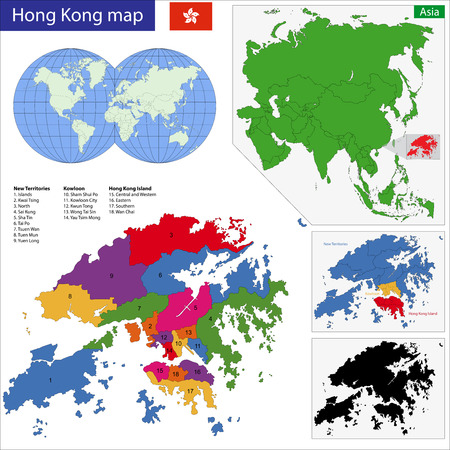 geographically: Vector map of the Hong Kong Special Administrative Region of the Peoples Republic of China drawn with high detail and accuracy. Hong Kong is divided into regions which are colored with different bright colors. Illustration