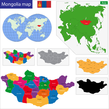 politically: Map of administrative divisions of Mongolia