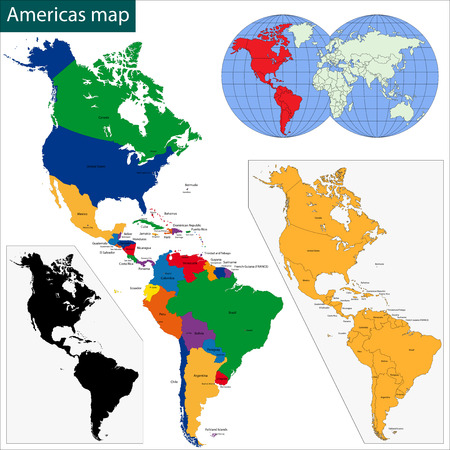 Colorful Americas map with countries and capital cities Illustration