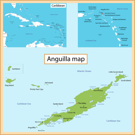 anguilla: Map of Anguilla drawn with high detail and accuracy  Illustration