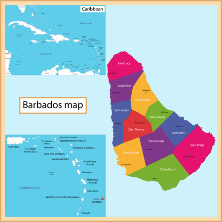 barbadian: Map of Barbados drawn with high detail and accuracy  Barbados is divided into parishes which are colored with different bright colors Illustration