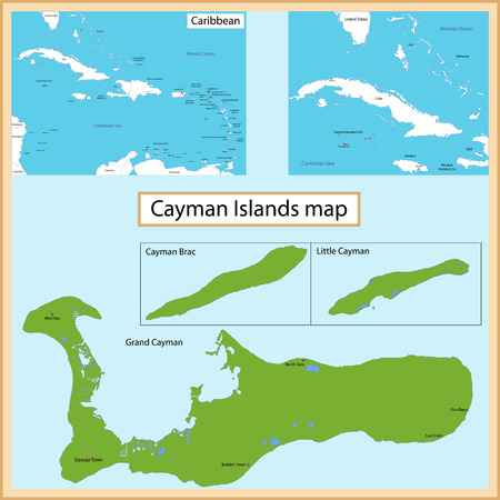 cayman: Map of the Cayman Islands islands drawn with high detail and accuracy Illustration
