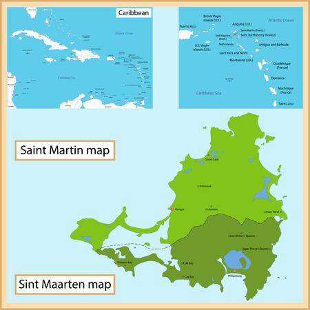 politically: Map of Saint Martin and Sint Maarten drawn with high detail and accuracy Illustration