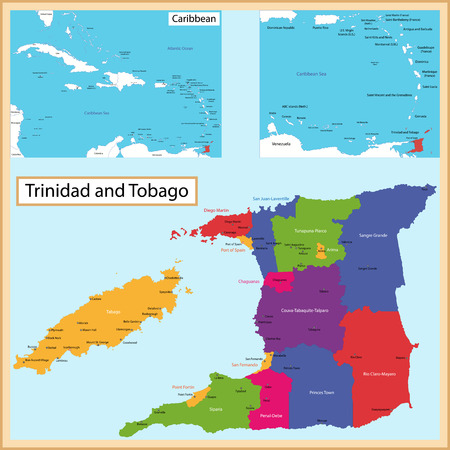 port of spain: Map of the the Republic of Trinidad and Tobago drawn with high detail and accuracy  Trinidad and Tobago is divided into corporations which are colored with different bright colors