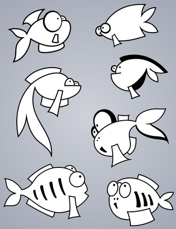 fish silhouette: Set of various cartoon fishes silhouettes, black and white