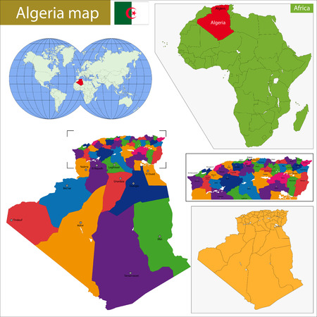 berber: Algeria map with high detail and accuracy and it is divided into provinces which are colored with different bright colors