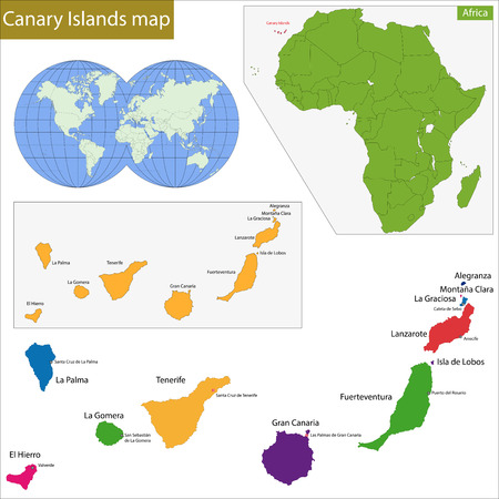 landlocked country: Canary Islands map with high detail and accuracy Illustration