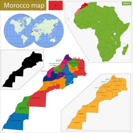 landlocked country: Divisi�n administrativa del Reino de Marruecos Vectores
