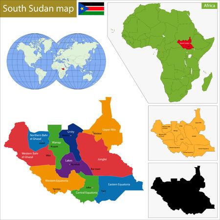 landlocked country: Divisi�n administrativa de la Rep�blica de Sud�n del Sur