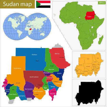 나일 강: 수단 공화국의 행정 구역 일러스트