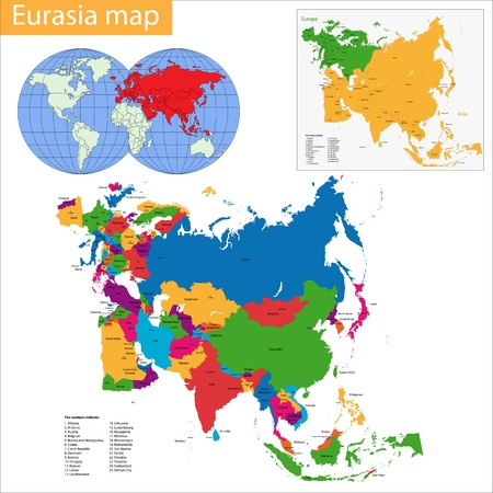 eurasian: map of Eurasia drawn with high detail and accuracy. Eurasia is divided into countries which are colored with different bright colors