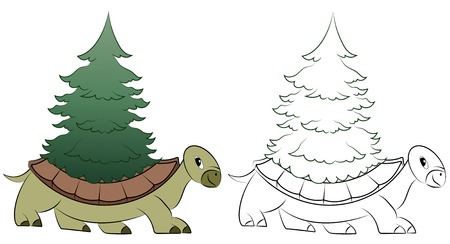 Funny cartoon turtle with fir tree on the shell Vector