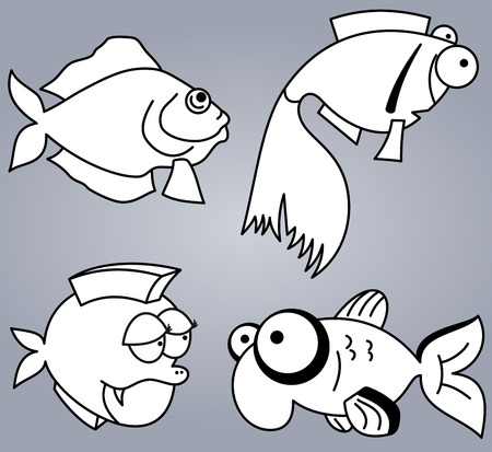 Set of various cartoon fishes silhouettes, black and white Vector