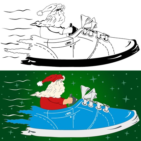 Santa claus on the way to you Vector
