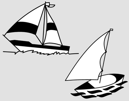 Illustration art of a sailing boat with isolated background.