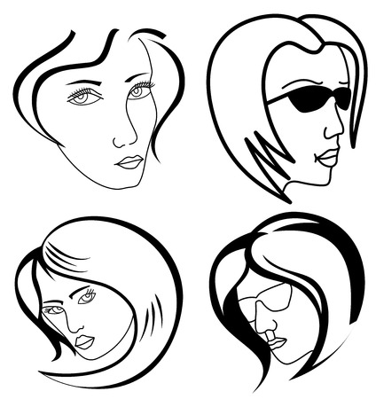 whine: Women outlined faces isolated on whine background