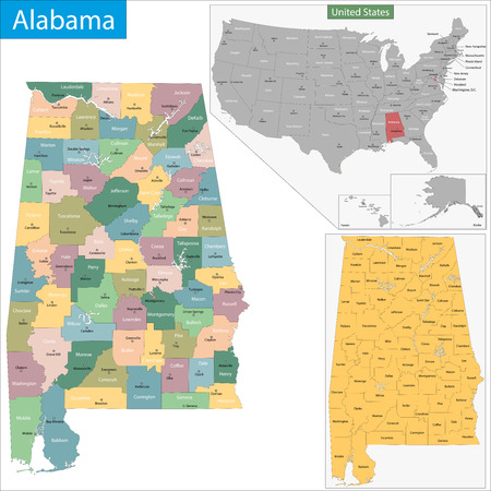 montgomery: Map of Alabama state designed in illustration with the counties and the county seats. Illustration